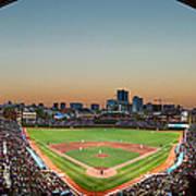 Wrigley Field Night Game Chicago Print by Steve Gadomski