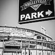 Wrigleyville Sign And Wrigley Field In Black And White Print by Paul Velgos