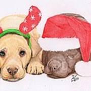 Xmas Pups Print by Deborah Nicholas
