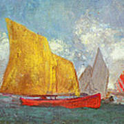 Yachts In A Bay Print by Odilon Redon