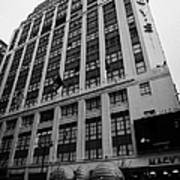 Yellow Cabs Outside Macys Department Store 7th Avenue And 34th Street Entrance New York Print by Joe Fox