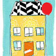 Yellow Flower House Print by Linda Woods