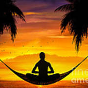 Yoga At Sunset Print by Bedros Awak