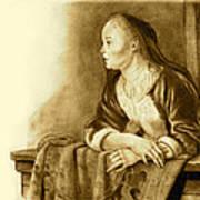 Young Woman On A Balcony Sepia Print by Joyce Geleynse