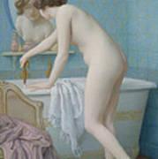 Young Woman Preparing Her Bath  Print by Jules Scalbert