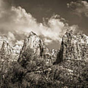 Zion Court Of The Patriarchs In Sepia Print by Tammy Wetzel