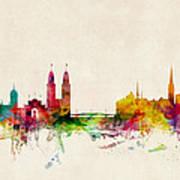 Zurich Switzerland Skyline Print by Michael Tompsett