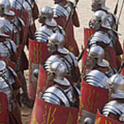 Actors Re-enact A Roman Legionaries Print by Taylor S. Kennedy
