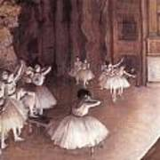 Ballet Rehearsal On The Stage Print by Edgar Degas