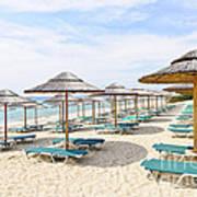 Beach Umbrellas On Sandy Seashore Print by Elena Elisseeva