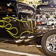 Black Hot Rod Big Engine Print by Pictures HDR