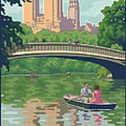 Bow Bridge In Central Park Print by Mitch Frey