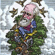 Charles Darwin In His Evolutionary Tree Print by Bill Sanderson