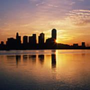 Dallas Skyline At Dawn Print by Jeremy Woodhouse