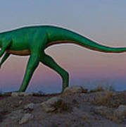 Dinosaur Loose On Route 66 Print by Mike McGlothlen