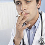 Doctor Smoking Print by Adam Gault