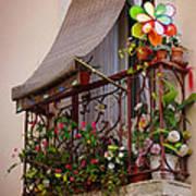 Flowery Balcony Print by Carlos Caetano