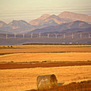 High Plains Of Alberta With Rocky Mountains In Distance Print by Mark Duffy