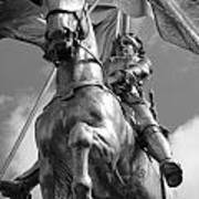 Joan Of Arc Statue French Quarter New Orleans Black And White Print by Shawn O'Brien