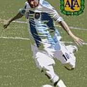 Lionel Messi The Kick Art Deco Print by Lee Dos Santos