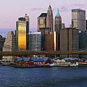 Lower Manhattan Skyline And Brooklyn Bridge At Dawn Print by Jeremy Woodhouse