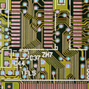 Macrophotograph Of A Circuit Board Print by Dr Jeremy Burgess