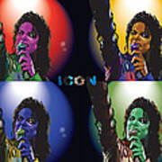 Michael Jackson Icon4 Print by Mike  Haslam