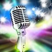 Microphone On Stage Print by Setsiri Silapasuwanchai