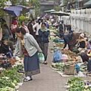Morning Market In Luang Prabang Print by Roberto Morgenthaler