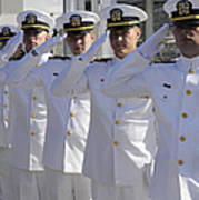 Officers Render Honors During A Change Print by Stocktrek Images