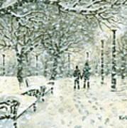 Snowing In The Park Print by Kalen Malueg