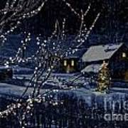 Snowy Winter Scene Of A Cabin In Distance  Print by Sandra Cunningham