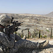 U.s Army Soldier Scans His Sector Print by Stocktrek Images
