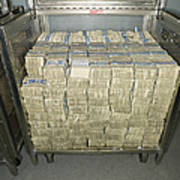 Us Dollar Bills In A Bank Cart Print by Adam Crowley