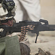 U.s. Marine Firing A Pk 7.62mm Machine Print by Terry Moore
