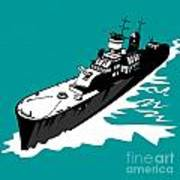 World War Two Battleship Warship Cruiser Retro Print by Aloysius Patrimonio