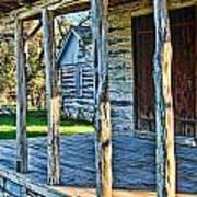 1860 Log Cabin Porch Print by Linda Phelps