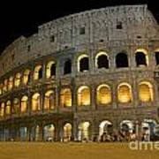Coliseum Illuminated At Night. Rome Print by Bernard Jaubert