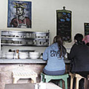 2 Girls At The Bakery Bar Print by Kym Backland