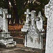 Gravestones In Graveyard Print by Dave & Les Jacobs