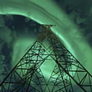 Powerlines And Aurora Borealis Print by Arild Heitmann