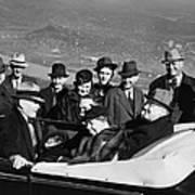 President Franklin D. Roosevelt In Car Print by Everett