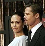 Angelina Jolie, Brad Pitt At Arrivals Print by Everett