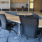 Empty Boardroom Or Meeting Room In An Print by Marlene Ford