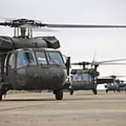 Uh-60 Black Hawks Taxis Print by Terry Moore