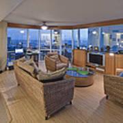 Usa Hi Honolulu Upscale Living Room Print by Rob Tilley