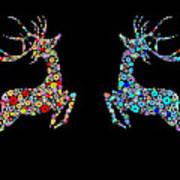 Reindeer Design By Snowflakes Print by Setsiri Silapasuwanchai