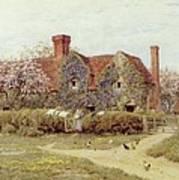 A Buckinghamshire House At Penstreet Print by Helen Allingham