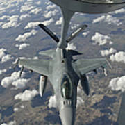 A Chilean Air Force F-16 Refuels Print by Giovanni Colla
