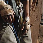 A Close View Of Rock Climber Becky Print by Bill Hatcher